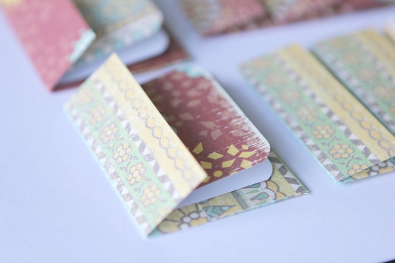 NEW - Mini Cards n Envelopes - Set of 8 - Gypsy Designs with Yellow Flowers on Burgundy