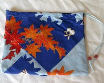Silk Three Pocket Purse - blue and orange maple leaf print with white bunnies