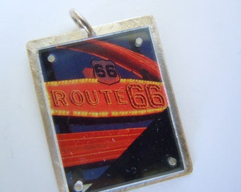 Route 66 Sterling Silver Charm or Pendant Historic Road Trip Vintage Road Sign