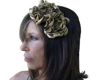 LEATHER FLOWER HEADBAND gold Bridal fascinator suede covered hairband on black wedding flowers halo in stock