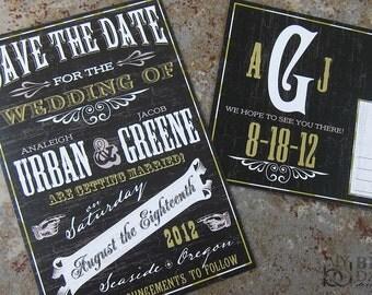 Western Chalkboard Save the Date. Vaudeville chalkboard save the date. Playbill save the date