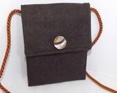 Brown Wool Travel Pouch, Passport Purse, Copper Silk, Cross Body Strap