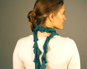 Scarf - Ruffle Cascade - Fashion Scarf - Repurposed - Teal - Organic Clothing - Ready to Ship - SALE