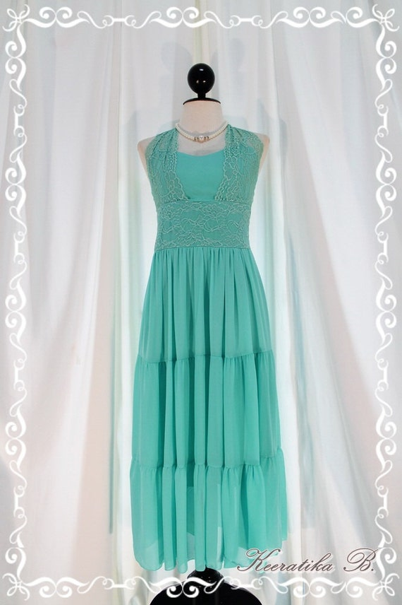 About Love - Powder Freshly Blue Gorgeous Maxi Dress Lacy Halter Sweet Lady Vintage Inspired Dress