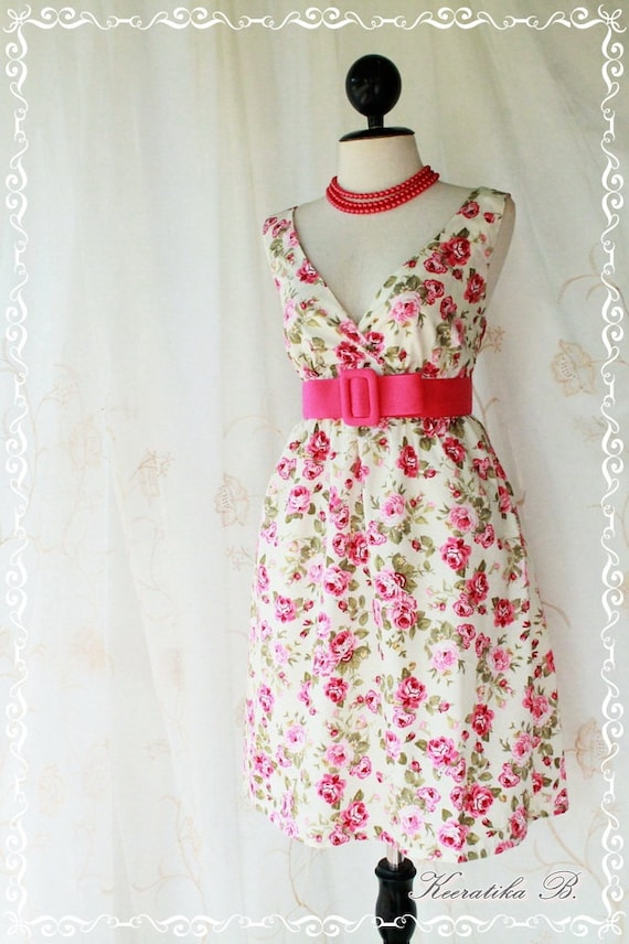 Miss Floral - Spring Summer Sundress Party Day Dress Pale Ivory Background With Elegant Floral Print  S-M