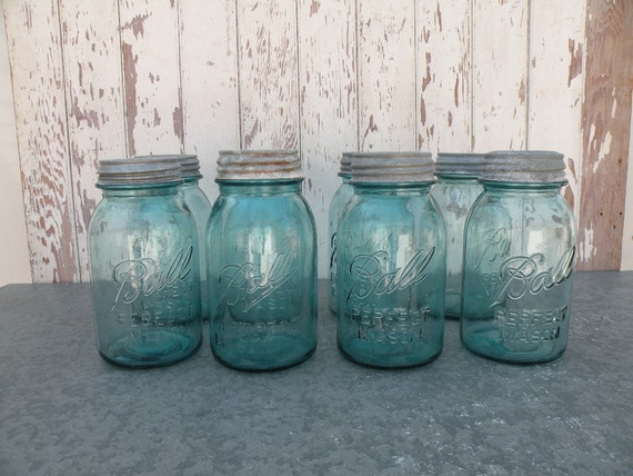 Quart canning jar  , Vintage blue glass Perfect Mason with Zinc lid , Perfect Farmhouse decor , 5 Available