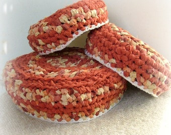 Crochet nesting bowls - set of 3 upcycled cotton fabric , red and yellow with white trim