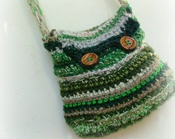 Crocheted bag forest green long strap with wooden buttons