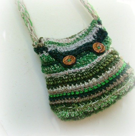 Crochet Bag Strap : Crocheted bag forest green long strap with by MammaEarthCreations