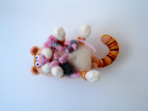 Good fat ginger cat with a mouses - needlefelted sculpture