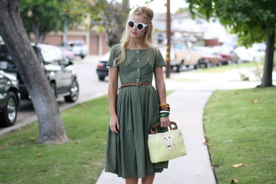 VTG 1950s 50s Olive Green Button-Up Day Dress XS