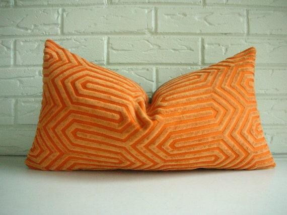 Designer Throw Pillow Cover - Decorative Lumbar - Mid Century Modern - Geometric Pattern Orange ...