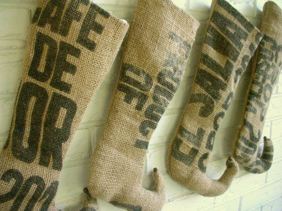 Christmas Stockings - Burlap Stockings - Rustic Holiday Decor - Industrial Christmas Decor