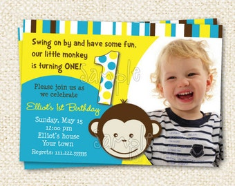 Mod Monkey  Birthday Invitations