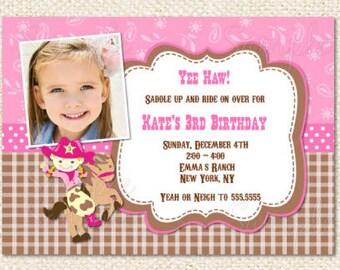 Cowgirl Birthday Invitations, Cowgirl invitation, Cowgirl, Cowboy, DIY printable