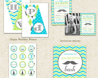 Little Man Mustache  - DIY Printable Personalized Birthday Party Package Party Pack
