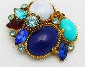 Blue Vintage Brooch Multi Shades of Color