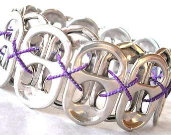 Stretchy POP TAB BRACELET - Purple Rain - for teens and adults - eco-friendly/recycled/upcycled jewelry - under 10.00