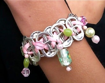 Beaded SODA TAB BRACELET - Tea Party - 7 1/2 inch - pink and green - women and teens - upcycled/recycled/eco-friendly - under 20.00