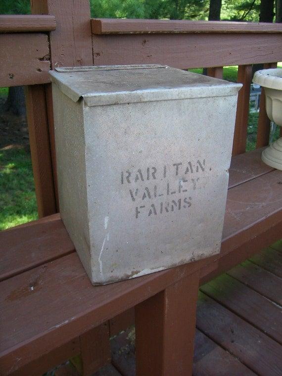 sale antique dairy aluminum milk box raitan by stonecottagemill. Black Bedroom Furniture Sets. Home Design Ideas