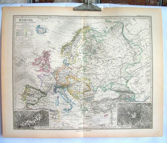 Antique 19th Century Map of Europe