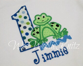 Boys Friendly Frog Birthday T Shirt Personalized  Applique ANY NUMBER Toddler 1st 2nd 3rd Girls