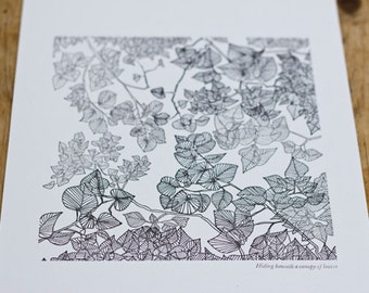 Limited Edition Letterpress Illustration: Hiding Beneath a Canopy of Leaves