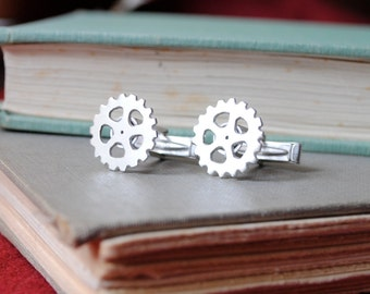 Silver Gear Cuff Links