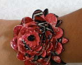 Aluminum Blooms Flower Cuff (Pink Rockstar) aluminum soda pop can reycled jewelry - AluminumBlooms