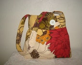 Pleated Hobo Purse, Floral shoulder purse, red,white,brown floral purse