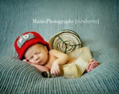 Firefighter Helmet in Red, Gray and White- Newborn Size READY TO SHIP