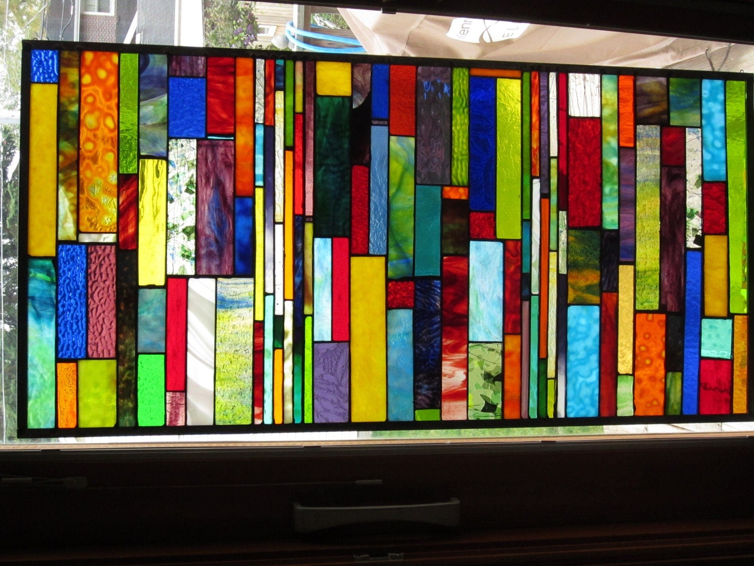 Stained glass panel window diversity custom by for Contemporary stained glass