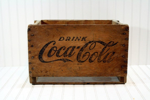 Vintage coke wood crate wooden crate industrial storage for Old wooden crates