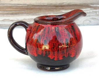 Canuck Pottery Drip Glaze Orange and Brown Creamer Evangeline Ware Fire Glaze Design Mini Pot Pitcher Handcraft Pottery Canada Pottery
