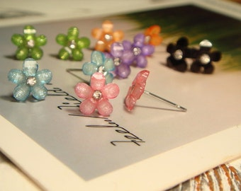 SALE - Glitter Tiny Flower With Rhinestone Post/Stud Earrings (E727) - choose your color