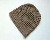 Crochet Slouch Beanie Hat - Brown - Men, Women - Christmas Gift Idea, Winter Fashion, Under 50 - wheretheresawool