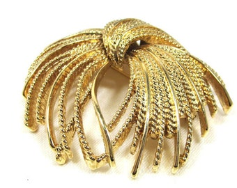 Gorgeous Vintage Monet Textured Brooch, Antiqued Gold Tone