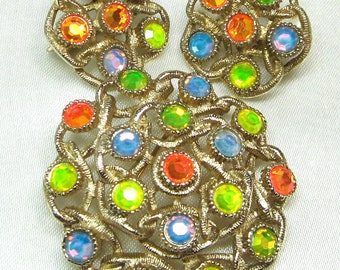 "Sarah Coventry ""Moon lites"" Brooch Pin and Clip Earrigns"
