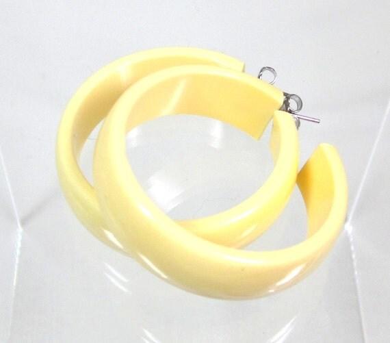 Vintage BAKELITE Earrings, Huge Yellow Hoops Bakelite, Pierced