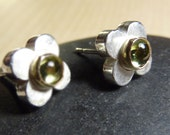 Sterling flower post earrings with Peridot and 14K Gold