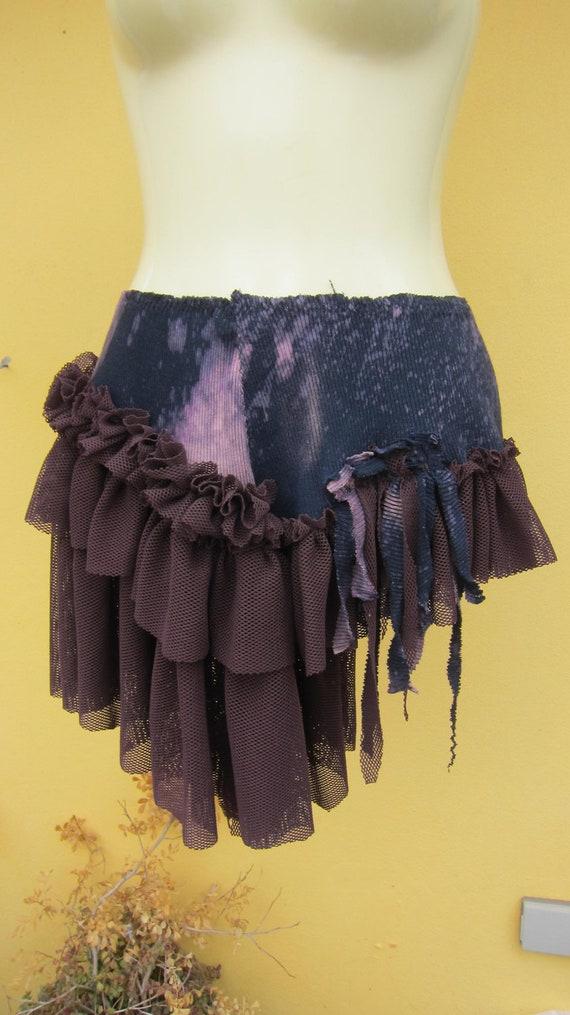bustle skirt...stormy hued with choc net ruffles...