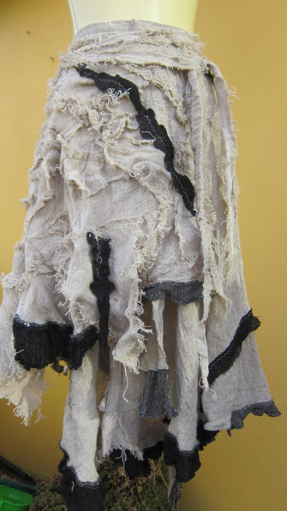 vintage inspired shabby chic ivory and choc shabby pieces linen skirt ...