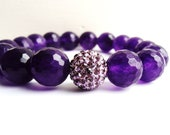 RESERVED:Purple Stone Stretch Bracelet with Swarovski Disco Ball Spacer Agate Crystals A199