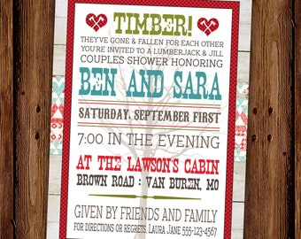 Lumberjack and Jill Couples Shower Party Invitation - Redneck Party - Country Engagement Party