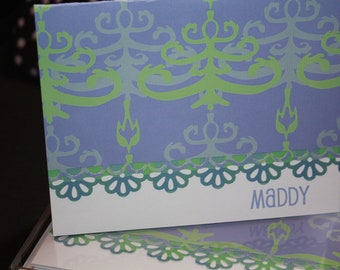 Handcrafted and Personalized Funky Pale Blue and Green Design