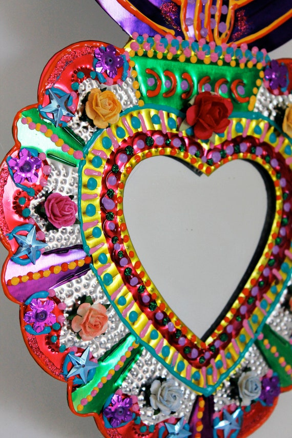 Sacred Heart Tin Metal Mirror Mexican Folk Art Bright