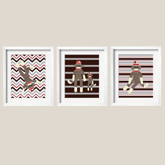Items similar to Sock Monkey Wall Art, Monkey Decor for ...