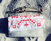 Tribal Pattern Printed  Leather Pouch White with Red No. ZP-105