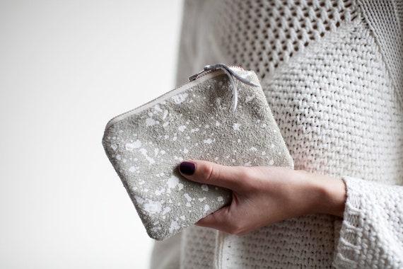 SALE Splatter Leather-Suede zipper coin purse No. SCP-101