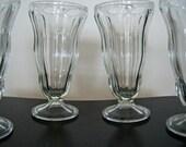 Vintage Tall Ice Cream Sundae, Float, Malt Glasses Set of 6